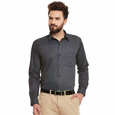 Hancock Black and Blue Print Pure Cotton Slim Fit Formal Shirt (43391Black)