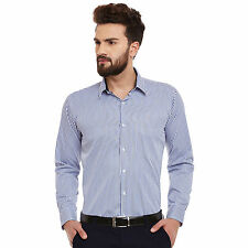 Hancock White and Blue Stripes Slim Fit Formal Shirt (43383Blue)