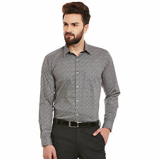 Hancock Black and White Print Pure Cotton Slim Fit Formal Shirt (43389Black)