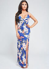 VIP Boutique Cassandra Blue Floral Split Glam Summer Holiday Maxi Dress
