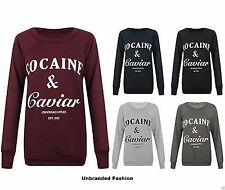 Womens Ladies Cocaine And Caviar Print Jumper  Sweatshirt Top T-shirt 8-16.