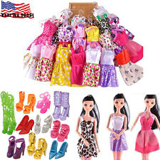20 items 10* Fashion Handmade Party Dress/Clothes/Gown +10 shoes For Barbie Doll