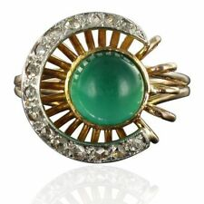 RARE Bague ancienne agate verte diamants Or rose 18K 1960-1970 Ring