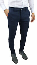 PANTALONS HOMME BATTISTINI JEANS BLEU FONCÉ HIVER SLIM FIT 100% MADE IN ITALY