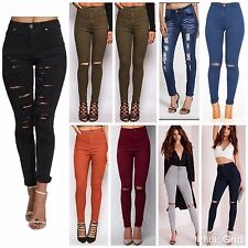 WOMENS LADIES HIGH WAISTED RIPPED SKINNY SLIM JEANS JEGGINGS PANTS Plus Siz 6-24