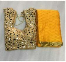 Beautiful Cotton Brasso Saree with Golden lace and Mirror Work Stitched  Blouse
