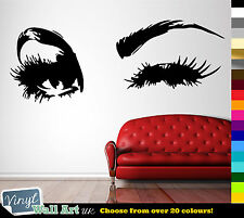 WINKING EYE Lashes Beauty Salon Vinyl Wall Art Decal Sticker Decal Many Colours