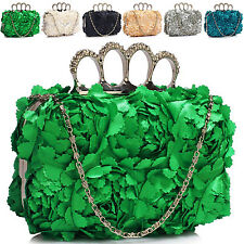 Women Knuckle Ring Satin Clutch Bag Bridal Ladies Evening Padded Party Prom UK
