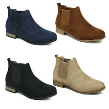 NEW WOMENS LADIES LOW BLOCK HEEL CHELSEA STYLE ANKLE BOOTS SHOES SIZE 3-8
