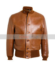 NEW MEN WWII BOMBER AIR FORCE 100% GENUINE LEATHER FLIGHT A-1 BROWN TAN JACKET