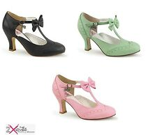 """PLEASER FLAPPER 11 PIN UP COUTURE 3"""" KITTEN HEEL BOW SHOES 50'S RETRO VINTAGE"""
