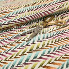 Multi Colour Pink Blue Orange Modern New Funky Striped Pattern Upholstery Fabric