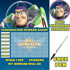 Reusable Behaviour Reward Chart Buzz lightyear, inc Stickers & pen MAGNETIC