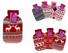 2L Large Hot Water Bottler - Beautiful Knitted Covers Christmas Pink Heart Check