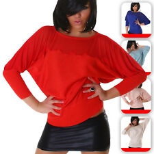 Damen Sommer Pulli Shirt Fledermaus Top Sweater Strick Long Farbe
