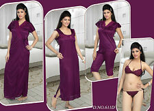 Hot Women Sleep Wear 6p Bra Panty Top Capri Nighty & Overcoat 611 Womens Bed Set