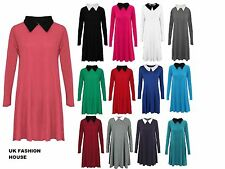 Womens Swing Dress Ladies Flared Peter Pan Collar Long Sleeve Top Plus Size 8-26