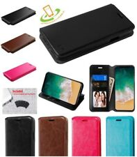 LG Aristo / LV3 Leather Flip Wallet Protective Case Cover Stand Book Pouch +Plug