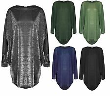 Womens Lurex Oversize Long Sleeve Batwing Baggy Ladies Top Plus Size Blouse 8-26