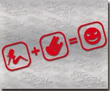 Frau + Shocker = Smiley Aufkleber - Jdm Fun Tuning Gag Sticker Spass - Hand cool