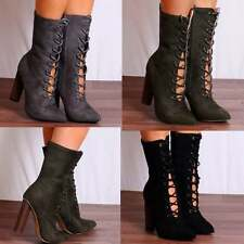LADIES POINTED LACE UPS POINTED HEELED ANKLE BOOTS HIGH HEELS SHOES SIZE WOOD