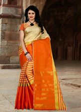 New Arrival Festival Special Designer with golden jacquard lace Cotton Saris