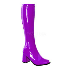 PLEASER FUNTASMA GoGo-300 Purple Patent Stretch 70s Disco Fancy Dress Knee Boots