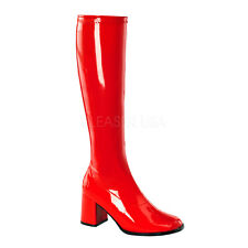 PLEASER FUNTASMA GoGo-300 Red Patent Stretch 70s Disco Fancy Dress Knee Boots