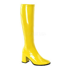 PLEASER FUNTASMA GoGo-300 Yellow Patent Stretch 70s Disco Fancy Dress Knee Boots