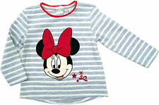 Neu! Disney Minnie Mouse Stretch Langarmshirt Shirt Longsleeve grau 80 86 92