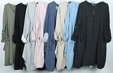 NEW LADIES SOFT FABRIC QUIRKY LAGENLOOK SCOOP NECK PLAIN COMFY POCKET TUNIC  TOP