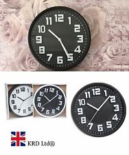 NON-TICK SILENT QUARTZ ROUND WALL CLOCK Hanging Home Office Big Numbers Gift UK