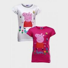 BNWT Girls Pink White PEPPA PIG Cotton Short Sleeve Tshirt Top Age 4-5 6-7 Years