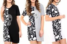 New Womens Skull n Rose Contrast Sequined T-Shirt Tee Dress Top Plus Sizes