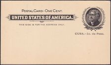 US Posessions 1899 1 Cent Black Surcharged Thomas Jefferson Postal Card UX1 Mint