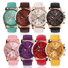 Fashion Women Ladies leather Stainless Analog Quartz Analog Wrist Watch @B