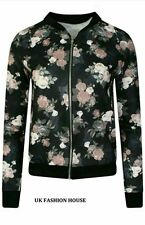 New Womens Ladies Rose Floral Print Zip Up Biker Bomber Jacket Coat Top UK 8-14