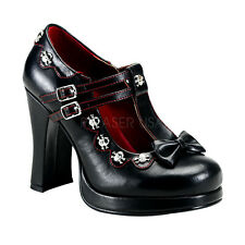 DEMONIA CRYPTO 06 Goth Punk Lolita Cosplay Mary Jane Black Shoes Skull Stud Bow