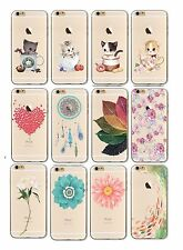iPhone 6 6s 7 Soft Silicon Transparent Clear Cover Case Flowers Cats Watercolour