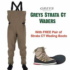 Greys Strata CT Stocking Foot Breathable Fly Chest Waders + Free Wading Boots