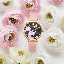 WOMEN FASHION 3D FLOWER DIAL FAUX LEATHER BAND ANALOG QUARTZ WRIST WATCH NICE