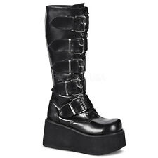 DEMONIA TRASHVILLE 518 Ladies Goth Punk Cyber 5 Buckled Black Knee Boots