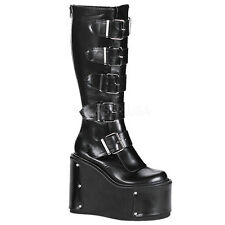 DEMONIA TRANSFORMER-800 Ladies Goth Punk Cyber Interchangeable Panels BLACK Knee