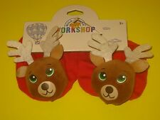 New BUILD-A-BEAR Accessory RED REINDEER SLIPPERS Christmas