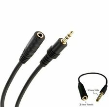 Black 3.5mm Plug to Socket M/F Earphone Stereo Audio Extension Cable