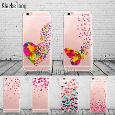 Watercolor Butterfly Pink Love Heart Case For Iphone 6 6S 5 5S Se 7 7Plus Transp
