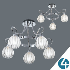 Chrome Semi Flush Close to Ceiling Chandelier Light Contemporary Modern Light