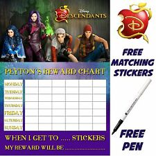 Descendants Reward Chart Behaviour, Reusable, free Stickers & pen. MAGNETIC opt
