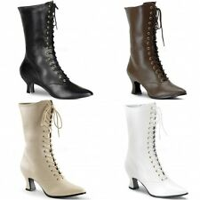 PLEASER FUNTASMA Victorian-120 Fancy Dress costume Kitten Heel Mid Calf Boots