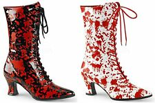 PLEASER FUNTASMA Victorian-120BL Blood Splatter Fancy Dress Mid Calf Boots